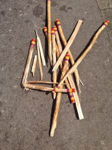 Broken morris sticks on the ground
