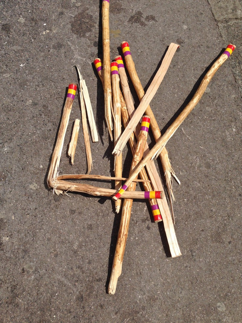 Broken sticks left by Brighton Morris Men