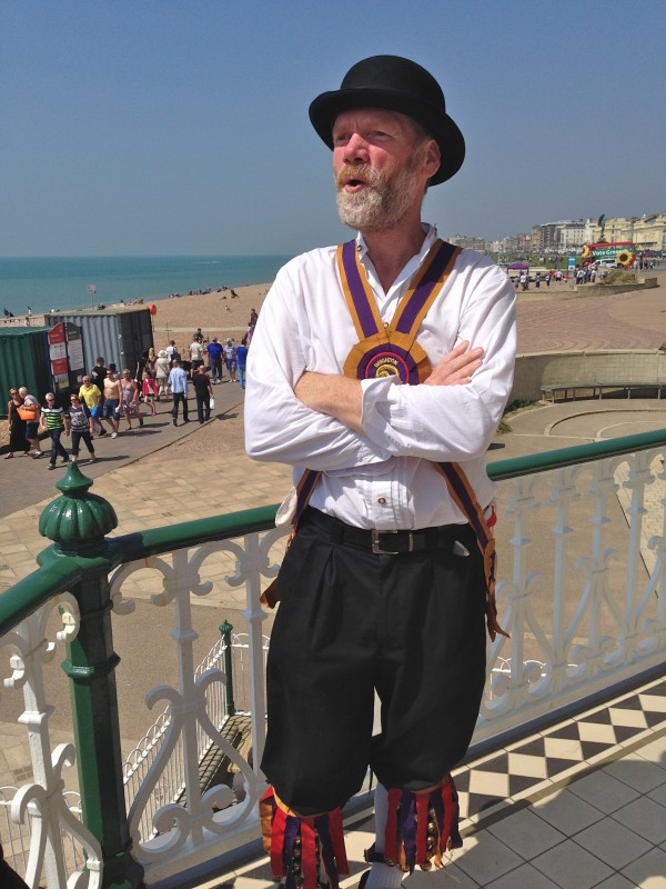 Morris dancer on Brighton seafront