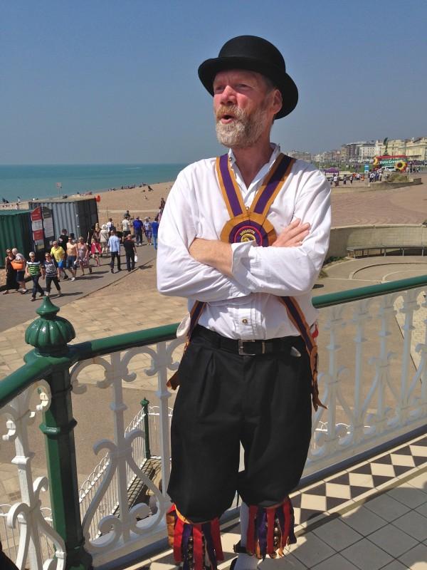 Morris dancer on Brighton seafront