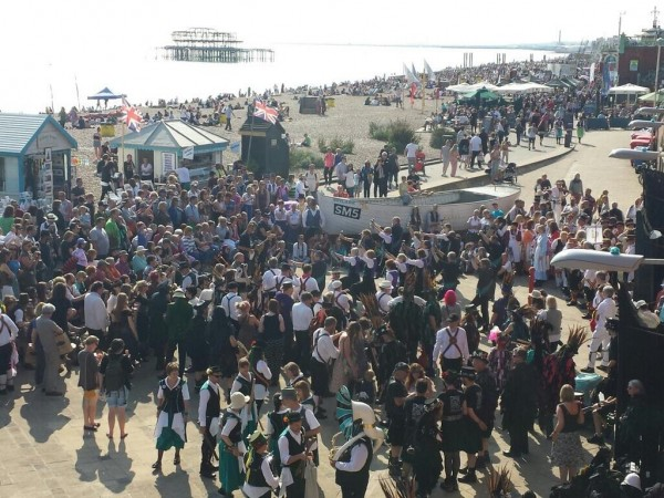 Morris dancers on Brighton seafront