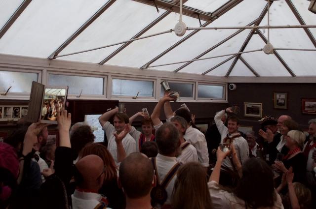 Brighton Morris dancing inside a pub