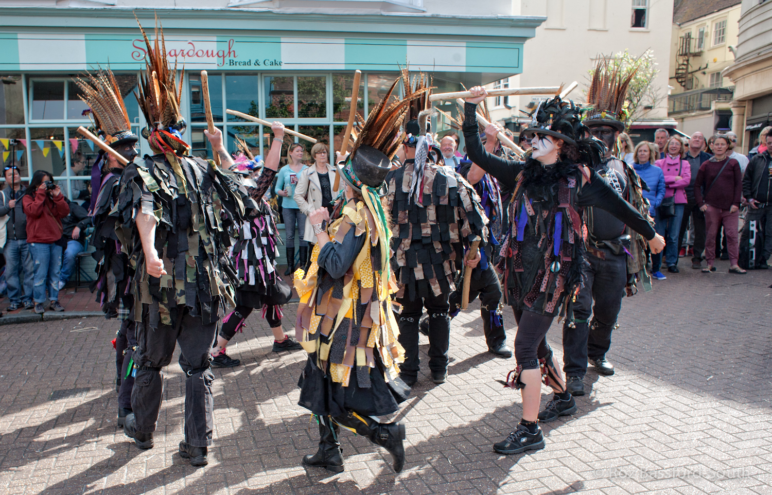 Armaleggan border morris dancers with tatters and sticks
