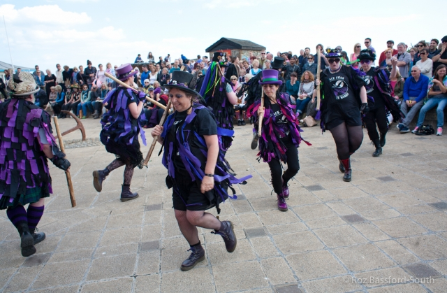 Border Morris dancers on Brighton seafront