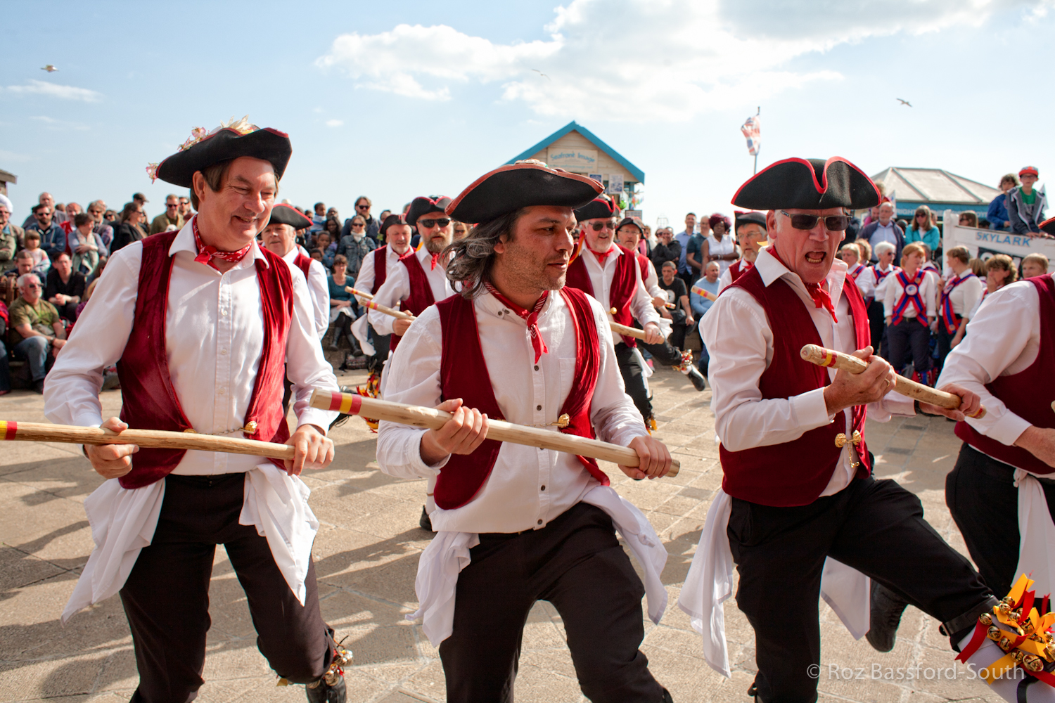 Victory Morris men dancing on Brighton Seafront