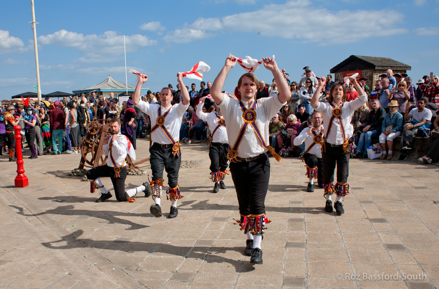 Brighton Morris Men show dance on the seafront