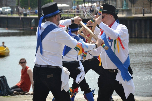 Stick dance on the quayside, Exeter