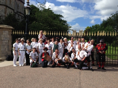 Massed morris dancers posed at Windsor