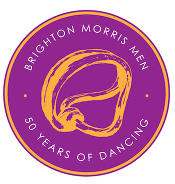 logo showing the Sussex Loops and the words Brighton Morris Men 50 years of dancing