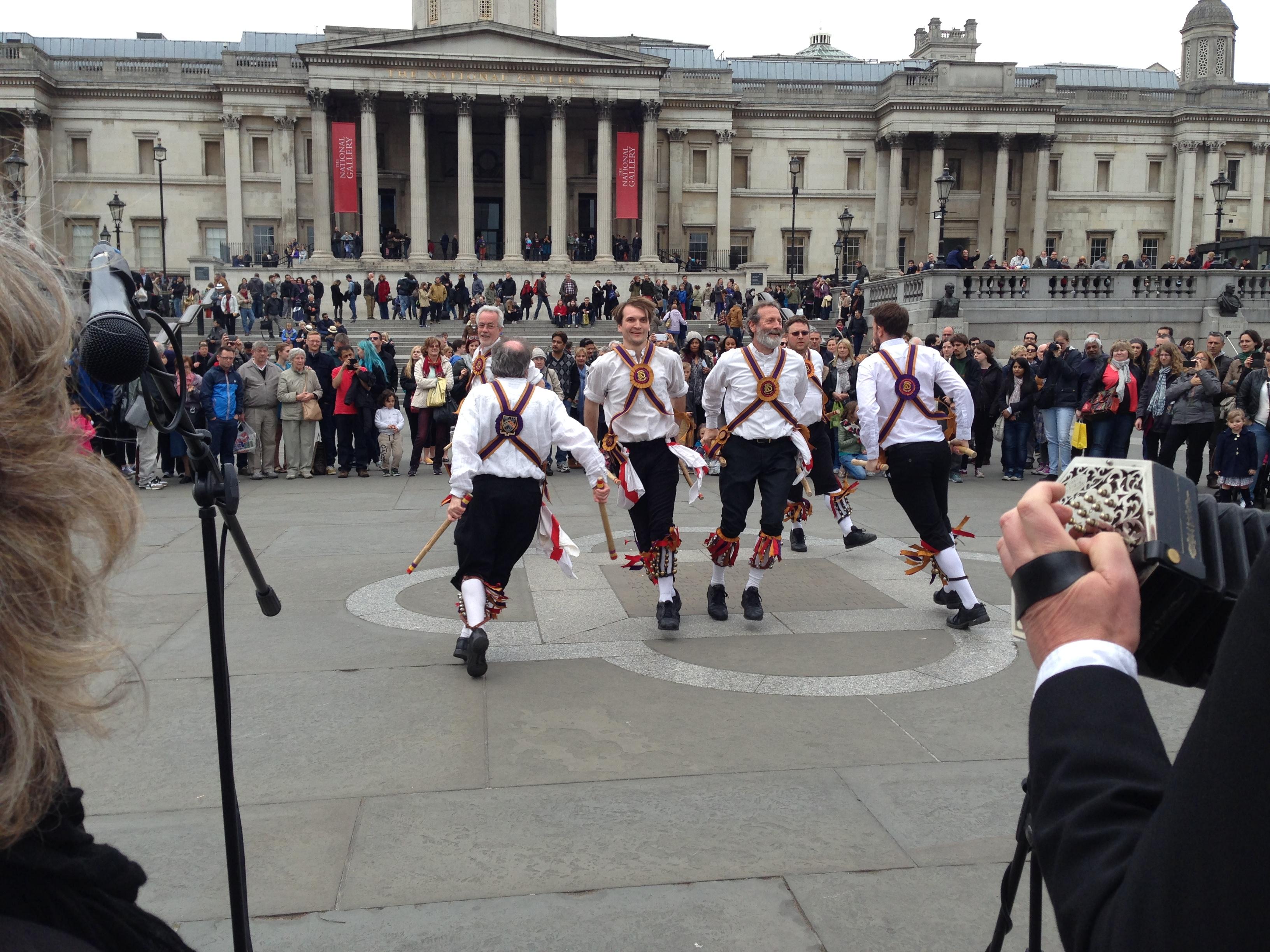Morris dancing Trafalgar Square, London
