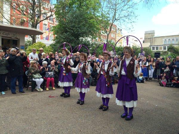 Women clog dancers in Brighton, Pavilion Gardens