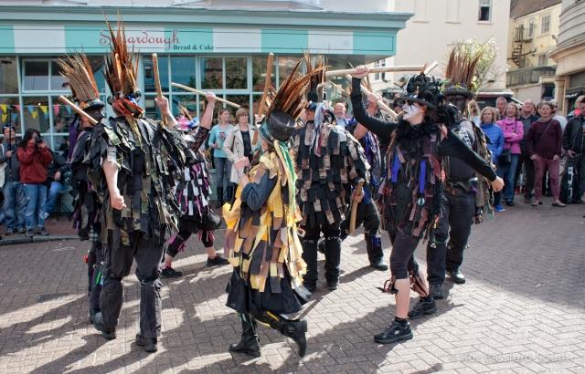 Armaleggan border morris dancers with tatters and sticks