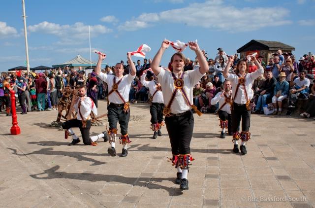 Brighton Morris Men show dance on the seafront